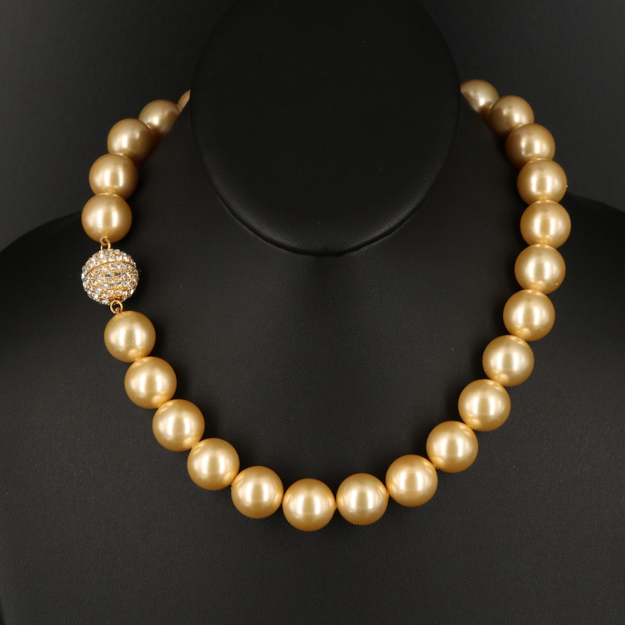 Glass and Faux Pearl Necklace