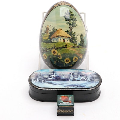 Russian Hand-Painted Lacquered Boxes and Egg, Late 20th Century