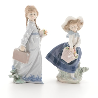 """Lladró """"School Days"""" and """"Pretty Pickings"""" Porcelain Figurines"""
