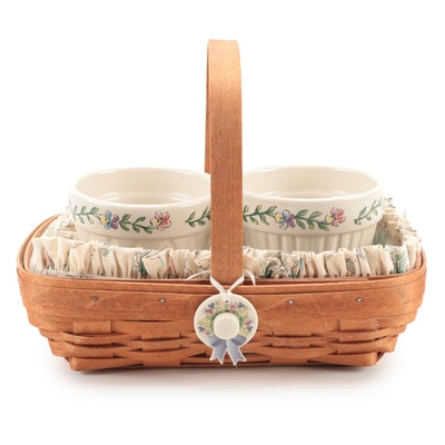 Longaberger Handwoven Maple Basket with Ceramic Insert and Planters
