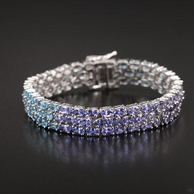 Sterling Aquamarine and Gemstone Multi-Row Bracelet