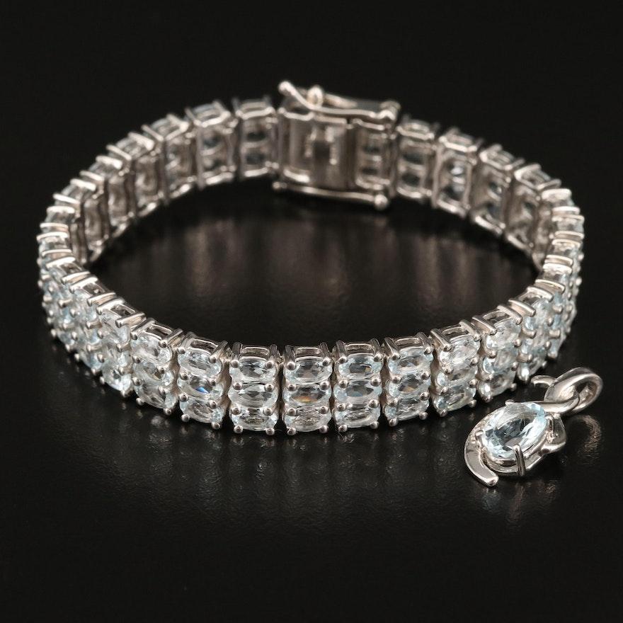 Sterling Aquamarine and Diamond Multi-Row Line Bracelet and Pendant