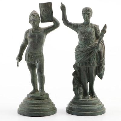 Replica Spelter Figurines after Augustus of Prima Porta and Roman Gladiator