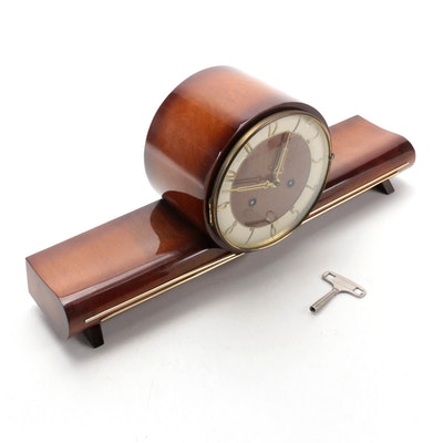 Mid Century Modern Mahogany Veneer German Mantel Clock, Mid-20th Century