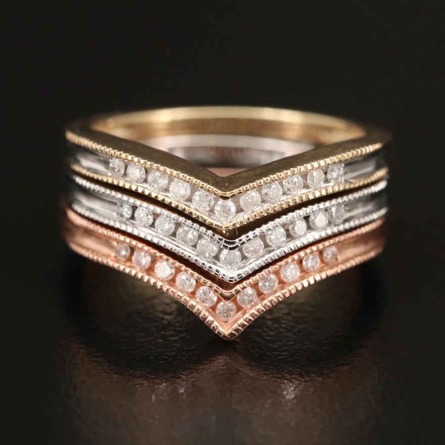 10K Tri-Tone Diamond Stackable Chevron Bands