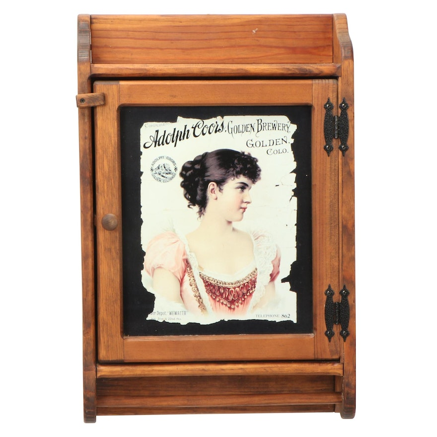 """Pine Wall Cabinet with Transfer-Printed Metal """"Adolph Coors"""" Advertisement"""