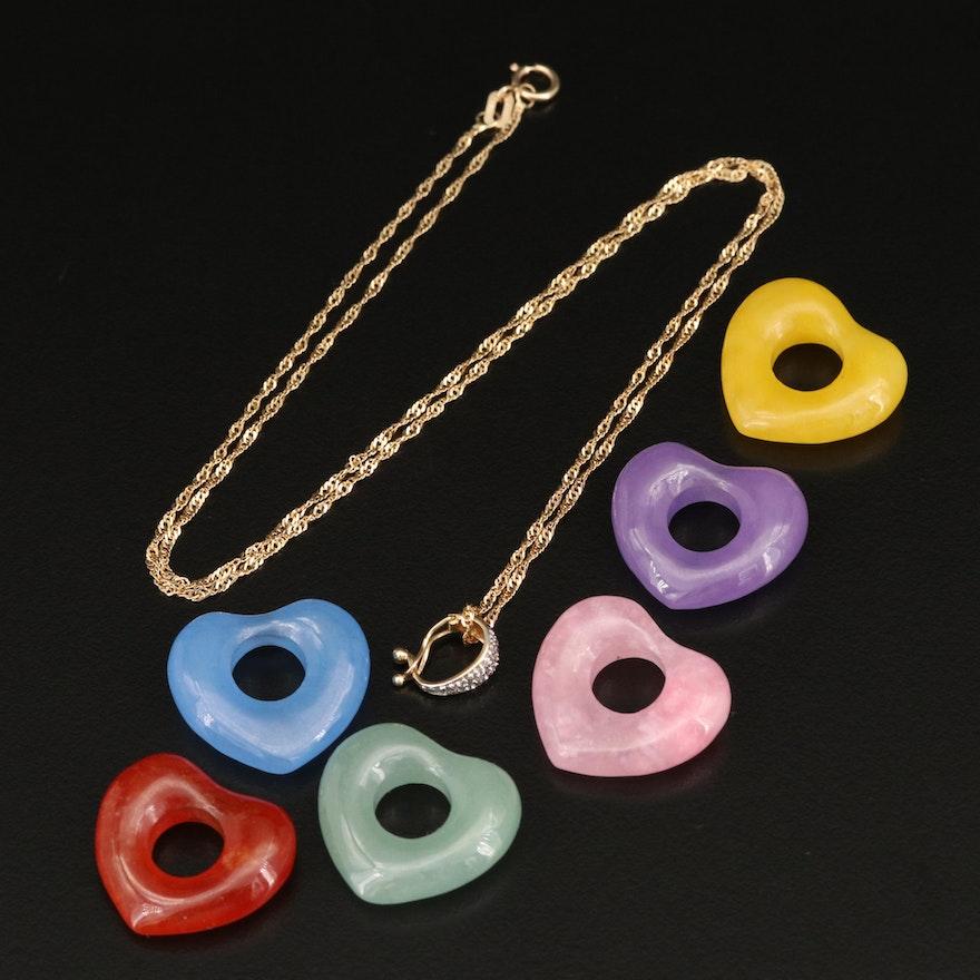 Italian 14K Jadeite and Diamond Interchangeable Heart Pendant Necklace