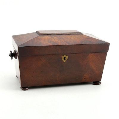 English Mahogany Sarcophagus Form Tea Caddy, Mid-19th Century
