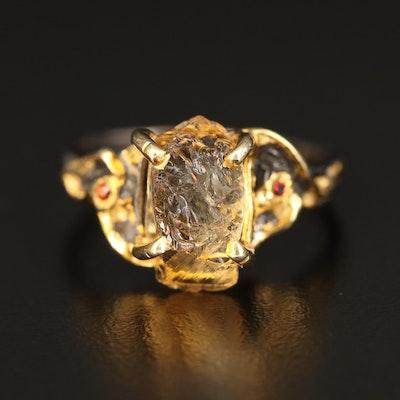 Sterling Citrine and Garnet Ring