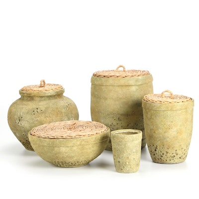 Terracotta Bowls and Storage Vessels with Woven Rattan Lids