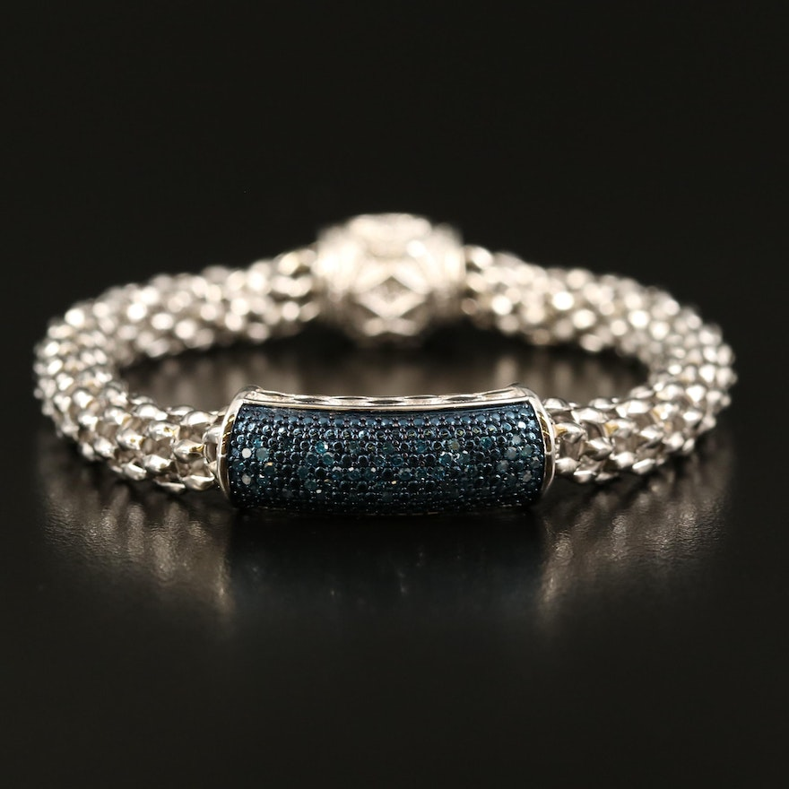 Sterling Diamond Bracelet with Magnetic Clasp