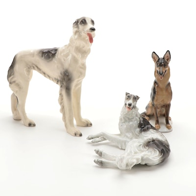 Rosenthal Porcelain Dog Figurines with Other Italian Porcelain Dog Figurine