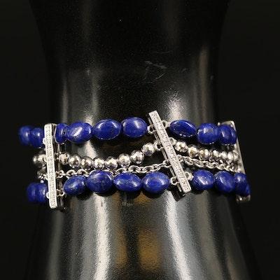 Sterling Lapis Lazuli and Diamond Multi Strand Bracelet