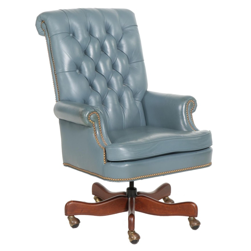 Hancock & Moore Button-Tufted and Brass-Tacked Leather Office Chair