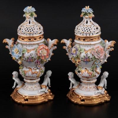 Dresden Style Potpourri Urns, 20th Century