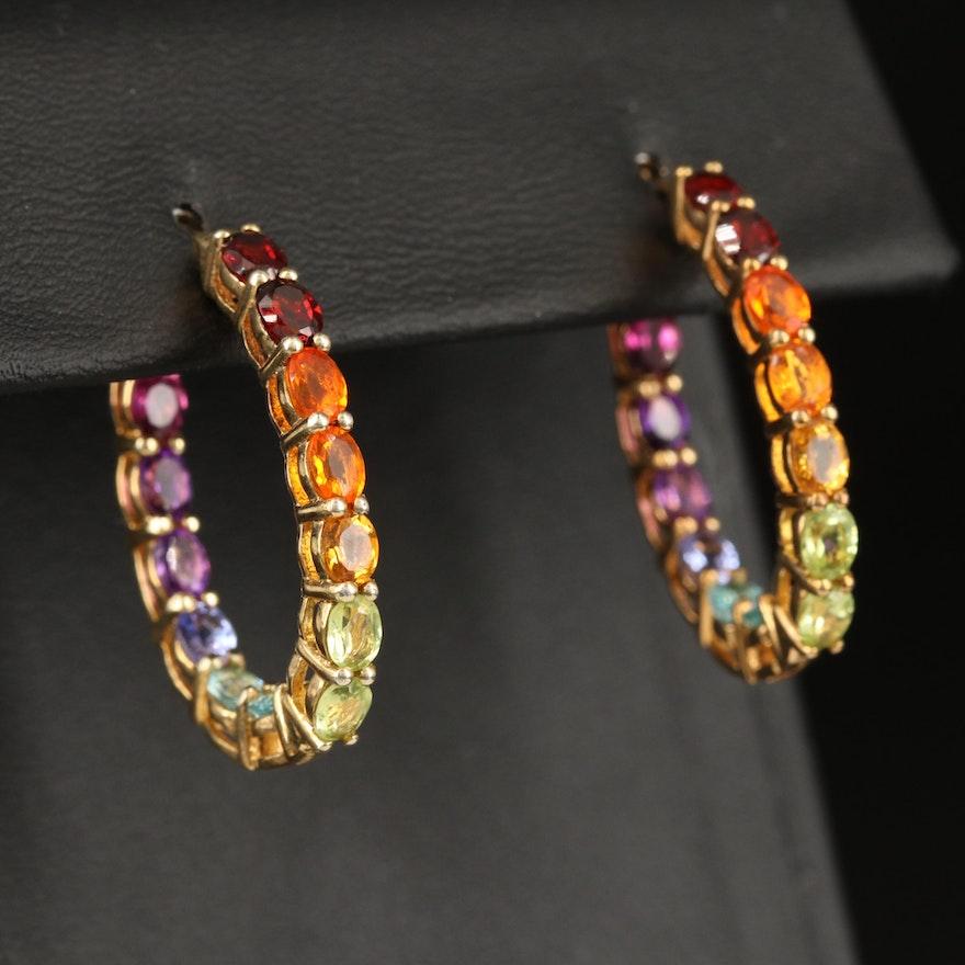 Sterling Silver Inside-Out Oval Hoop Earrings with Garnet, Fire Opal and Peridot