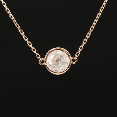 18K 1.06 CT Diamond Solitaire Pendant Necklace
