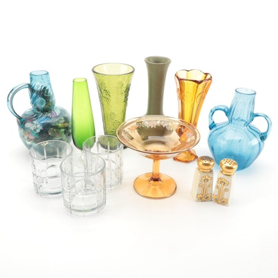 Anchor Hocking Glasses with Blown and Pressed Glass Vases and Ceramics