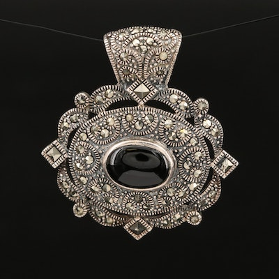 Sterling Silver Black Onyx and Marcasite Pendant