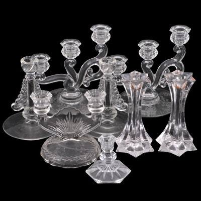 Imperial Glass, Heisey and Other Pressed and Etched Glass Candlesticks