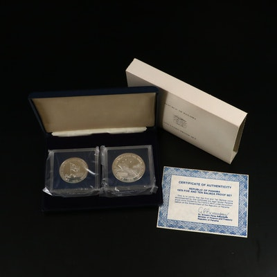 Republic of Panama 5 and 10 Sterling Silver Balboa Proof Coin Set