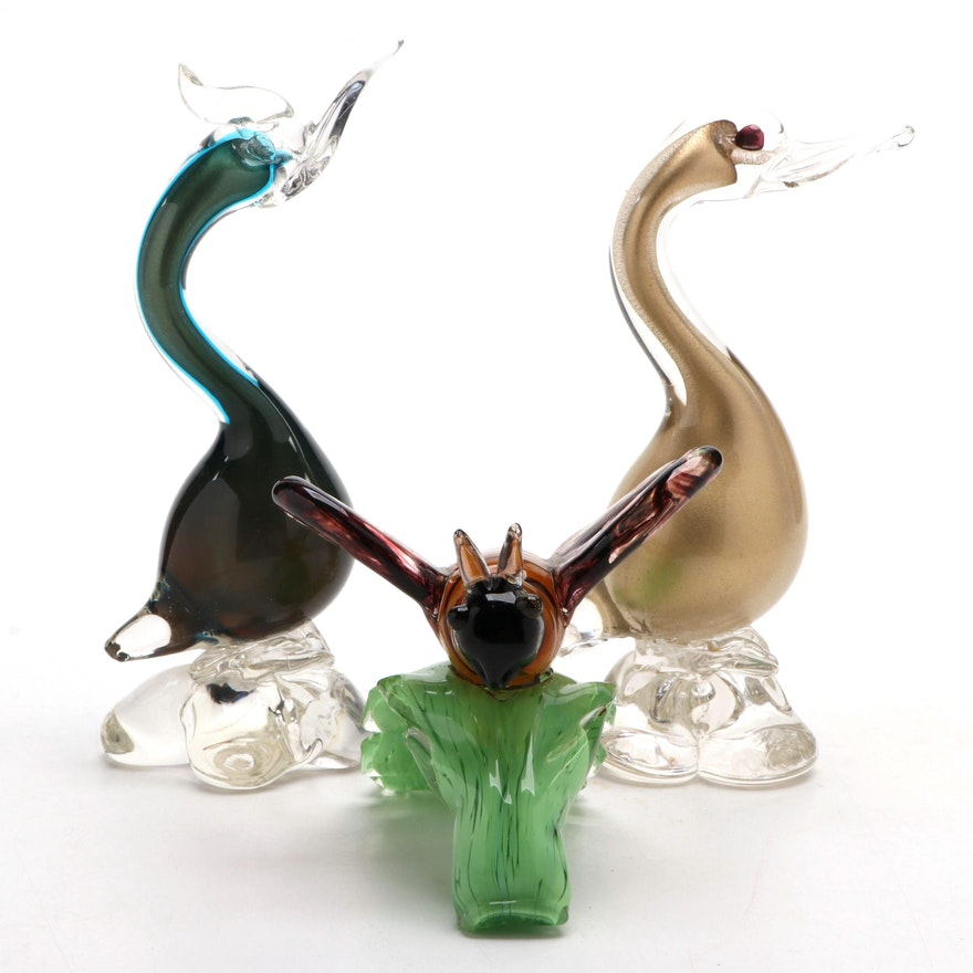 Murano Art Glass Birds with Other Art Glass Glass Bee