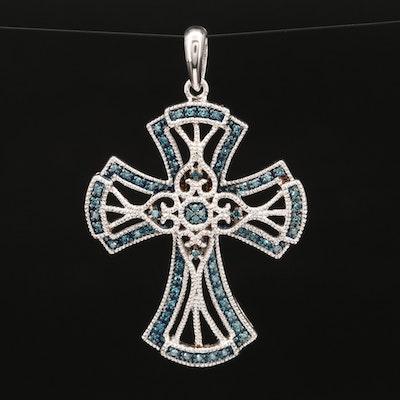 Sterling Silver Diamond Cross Pendant with Milgrain Detail