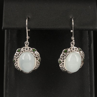 Sterling Silver Beryl and Diopside Oval Earrings