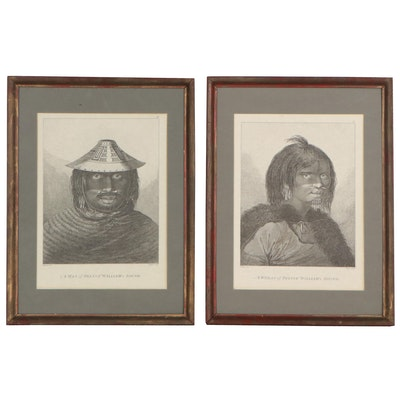 Lithographs after John Webber of Indigenous Man and Woman