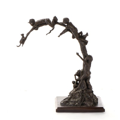 Glenna Goodacre Bronze Sculpture of Children at Play, 1995