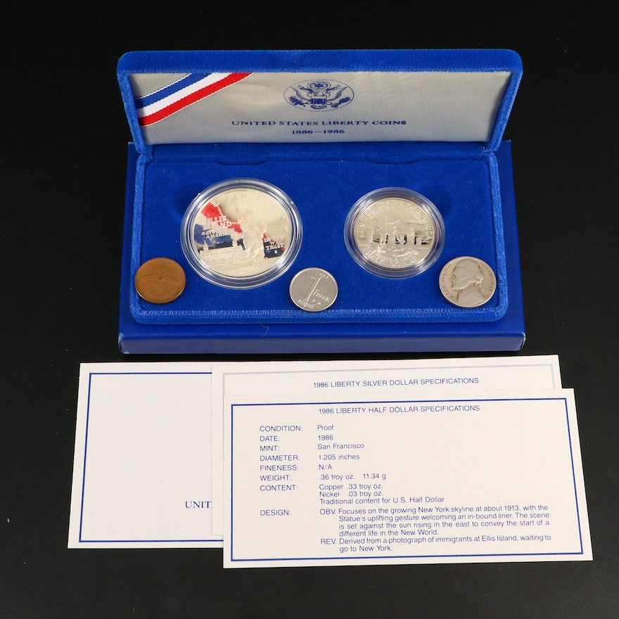 1986 Statue of Liberty Dollar and Half Dollar Commemorative Proof Two-Coin Set