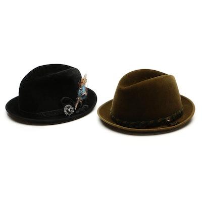 Barcelona and La Familiare Fur Felt Fedoras with Barlesoni Hat Boxes