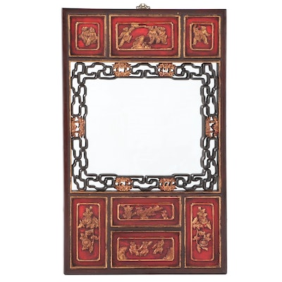 Chinese Red-Lacquered and Parcel-Gilt Mirror