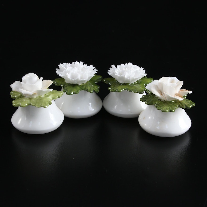 English Floral Topped Bone China Salt and Pepper Shakers