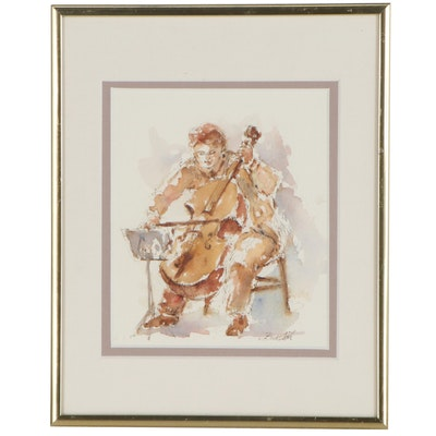 Charles Burdick Watercolor Painting of Double Bass Player