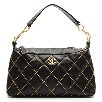 Chanel Wild Stitch Shoulder Bag in Quilted Black Leather