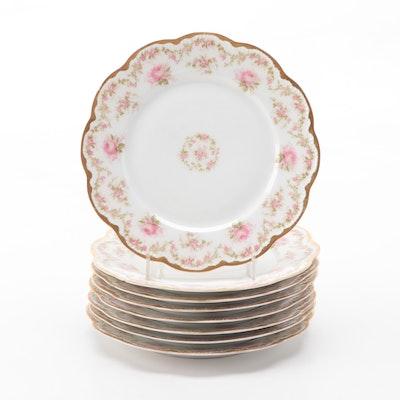 Haviland Limoges Porcelain Rose Motif Dessert Plates