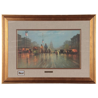 """G. Harvey Offset Lithograph """"Streetcars Along the Ave."""" Late 20th Century"""