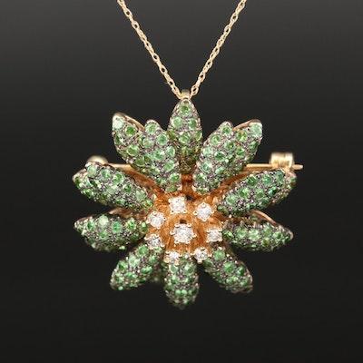 Le Vian 14K Tsavorite and Diamond Flower Converter Pendant Necklace