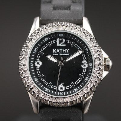 Kathy Van Zeeland Crystal Bezel Quartz Wristwatch