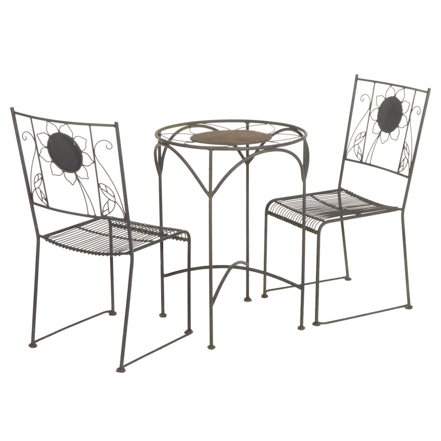 Metal Sunflower Design Patio Bistro Table and Chairs