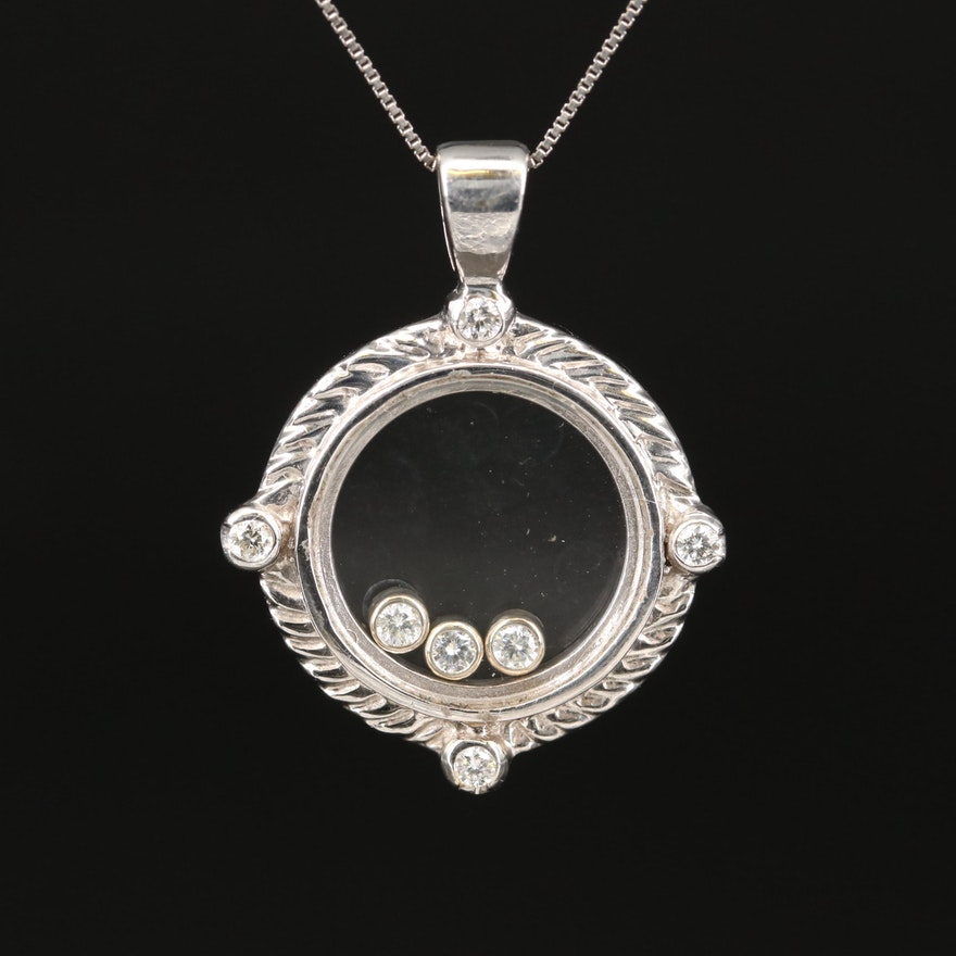 14K Diamond Floating Pendant Necklace