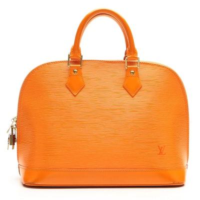 Louis Vuitton Alma PM Bag in Orange Epi and Smooth Leather