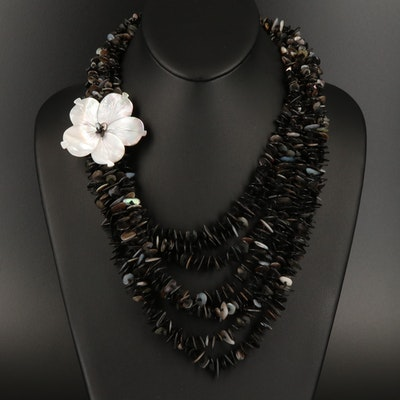Shell Multi Strand Floral Necklace