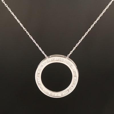 10K Diamond Circle Pendant on 14K Chain Necklace