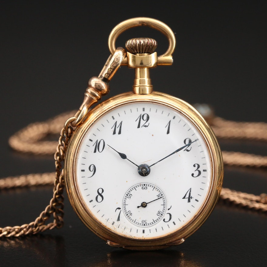 1904 Longines 18K Pocket Watch with Gold Filled Fob Chain