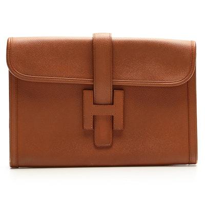 Hermès Jige PM Clutch in Courchevel Leather