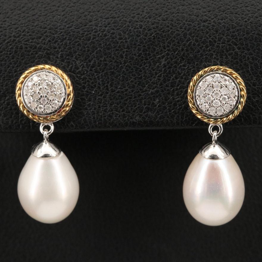 Sterling Diamond and Pearl Earrings