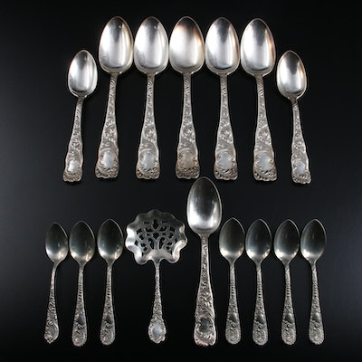 Wallace Sterling Silver Bonbon Spoon with Other Sterling and Silver Plate Spoons