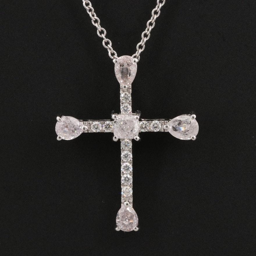 18K 1.05 CTW Diamond Cross Pendant Necklace